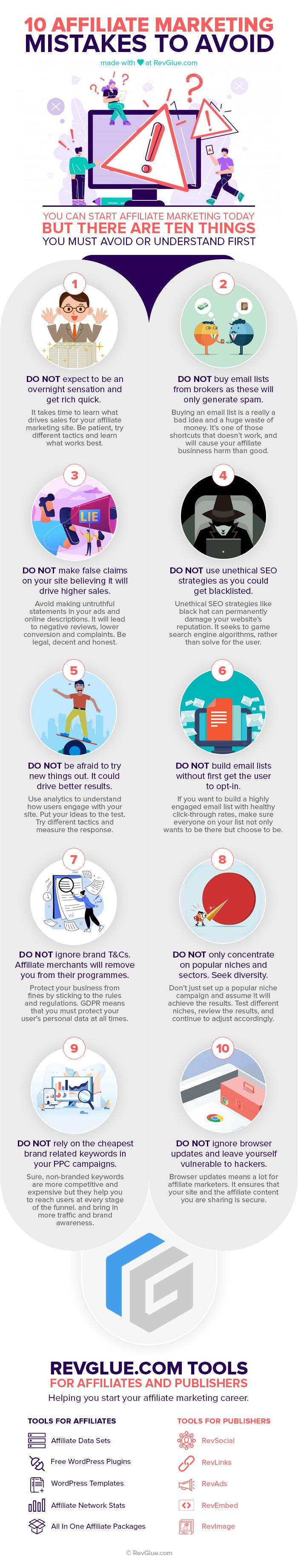 10 affiliate marketing mistakes to avoid inforgraphic.