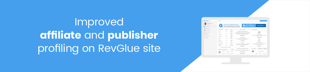 Improved affiliate and publisher profiling on RevGlue site