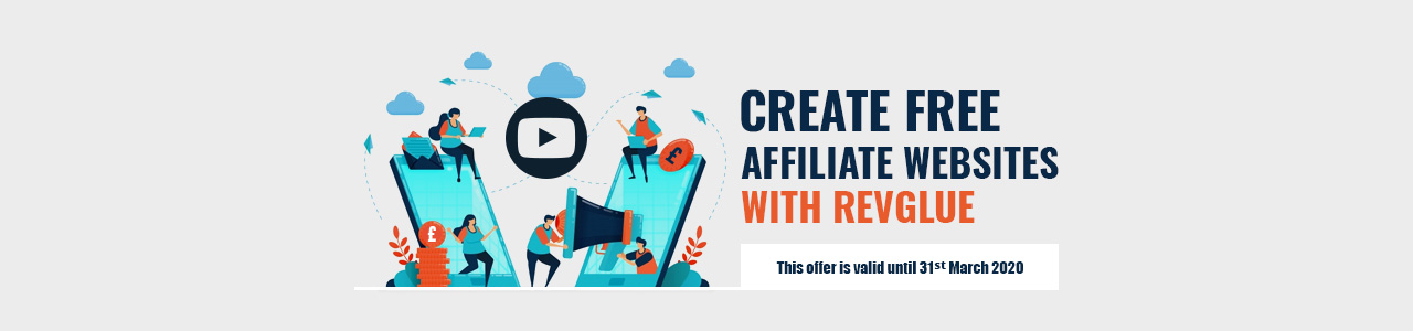 Create free affiliate websites with RevGlue.